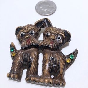 Early resin rhinestone double dog brooch pin